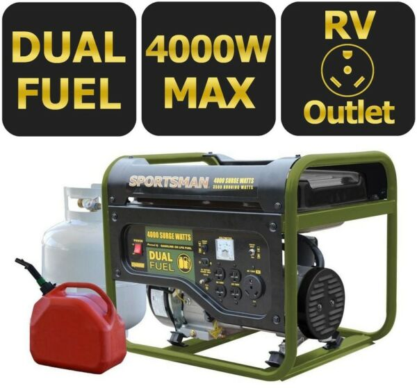 Portable Generator 4000 3500 Watt Dual Fuel Runs on LPG or Regular Gasoline