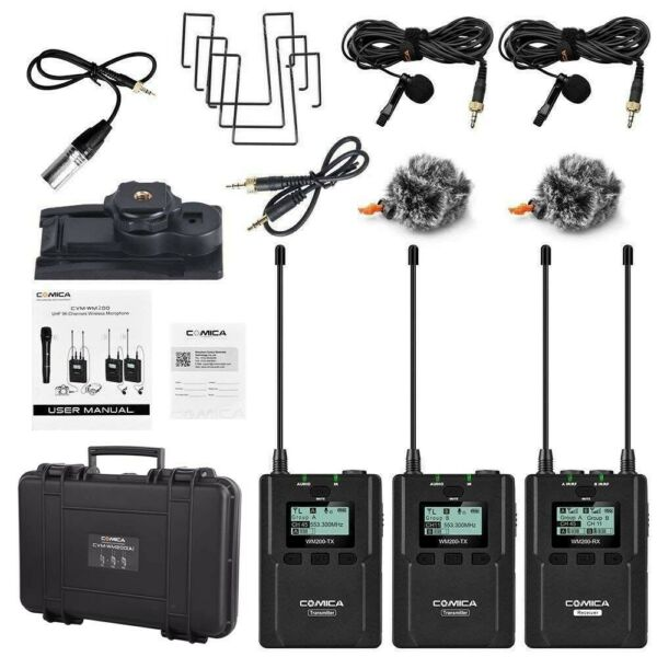 COMICA CVM-WM200(A) 96-Channel UHF Wireless Microphone for Camera Camcorder Vide