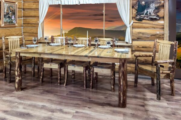 LOG Kitchen Table Chairs Set Amish Made Extendable Tables Rustic Lodge Style