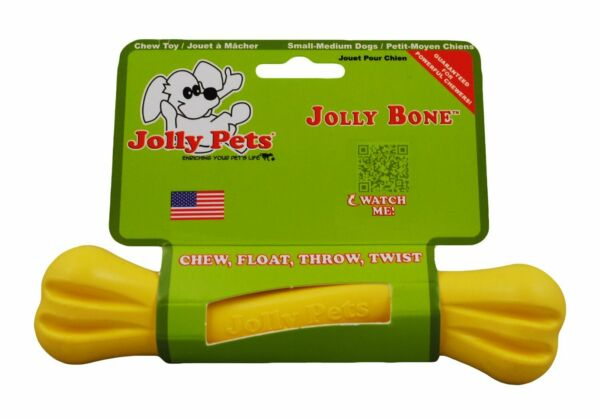 Jolly Pets Bone 6 inch Yellow  Rubber Chew Toy for Dogs $8.77