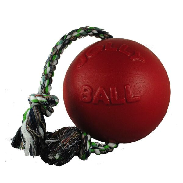Jolly Pets Romp-n-Roll 8 inch Red  Rubber Ball with Rope for Dogs $28.20
