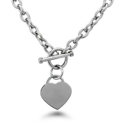 Stainless Steel Heart Charm Tag Toggle Necklace 18quot; FREE ENGRAVING