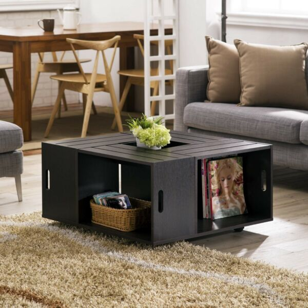 Coffee Table Wood Rustic Country Style Wine Crates Inspired 4 Open Shelves w Whe