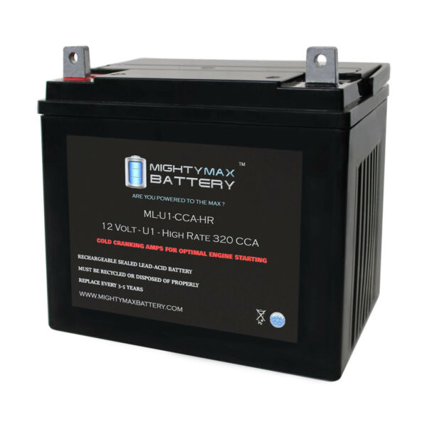 Mighty Max ML U1 CCAHR 12V 320CCA Battery for Simplicity Cobalt 30 61 Lawn Mower