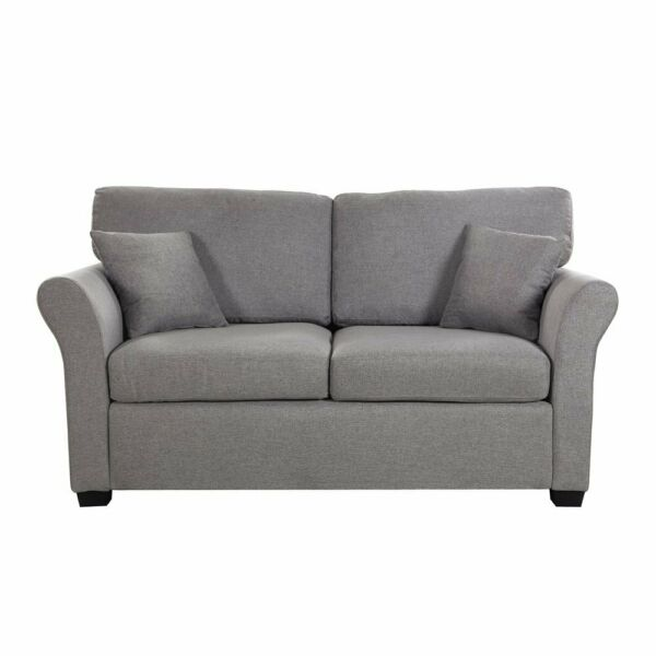 Classic Cozy Small Space Linen Fabric Loveseat Sofa 2 Pillows Grey $269.99