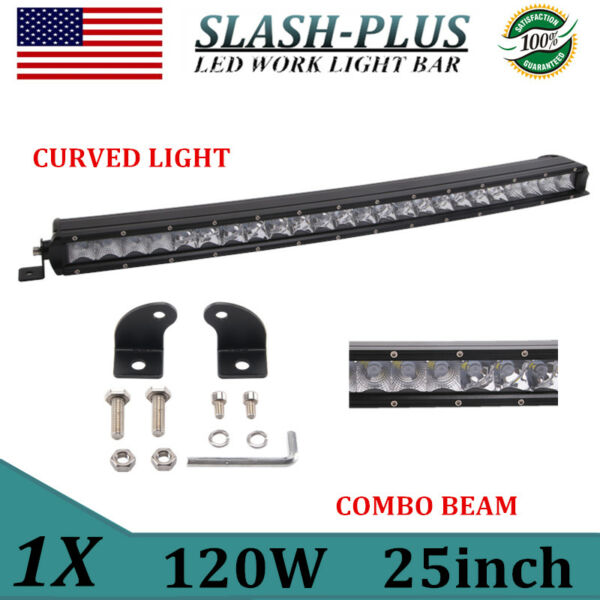 Curved 25inch 120W LED Work Light Bar Spot Flood Combo Single Row Offroad VS 24