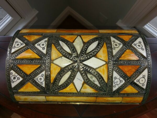 Vtg Moroccan Geometric Inlay Camel Bone Treasure Chest Trunk Box Ethnic Decor