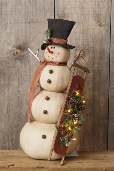 New Primitive Rustic Christmas SNOWMAN DOLL With SLED Lights Figure 27