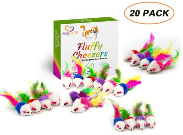 Fluffy Cheezers Interactive Catch Rattle Sound Play Mice Toys for Cats Box of 12