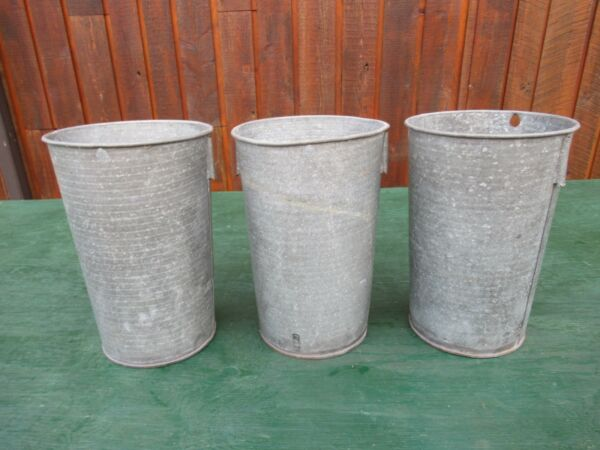 ANTIQUE 3 Maple Syrup OLD Tin Sap Pail Buckets Planters 12