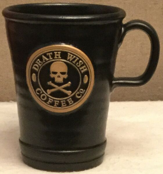 Death Wish Coffee Mug Tall Black Traveler Commuter Logo 2015 Deneen 1687 Made