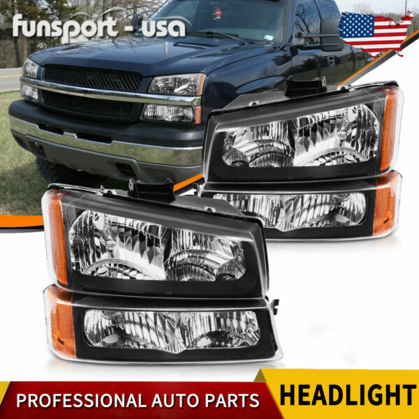 FOR 2003-2006 CHEVY SILVERADO BLACK HOUSING AMBER SIDE HEADLIGHTSLAMP ASSEMBLY