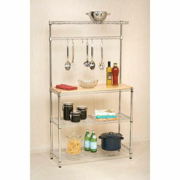 4-Tier Bakers Rack Storage Rack Microwave Oven Stand wCutting Board Chrome