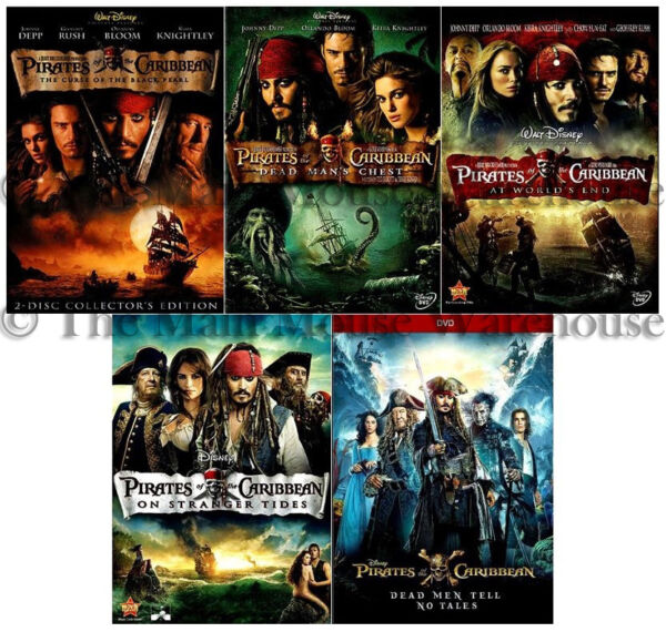 All Pirates of the Caribbean Movies Entire Series Complete Movie Set DVD Bundle