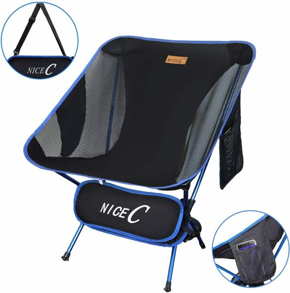 NiceC Ultralight Portable Folding Backpacking Camping Chair with 2 Storage Bags $29.99