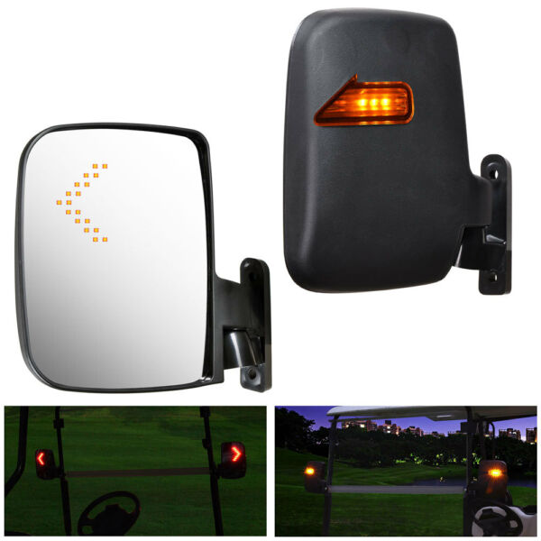 2x Universal Golf Cart Rear View Side Mirror w/ LED Indicators for EZGO Club Car
