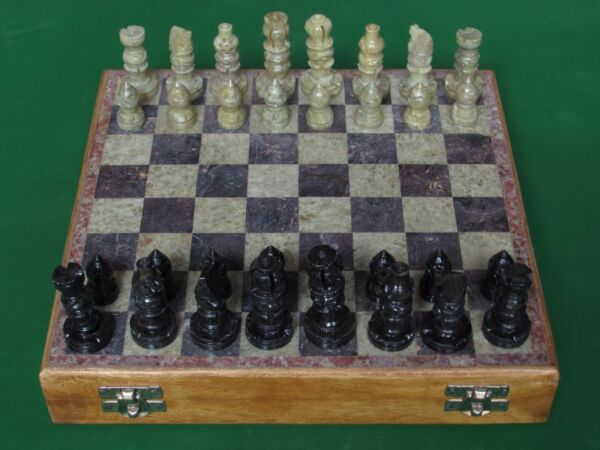 Marble Chess Set Handmade Soapstone pieces wooden Box arts & Crafts for gifts