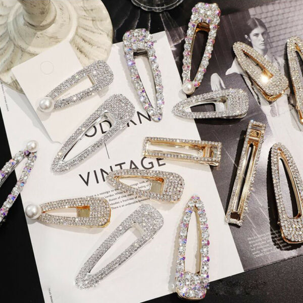 New Fashion Girls Crystal Hair Clip Snap Barrette Hairpin Bobby Hair Accessories