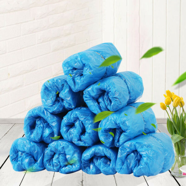 100 200PCS Shoes Boot Cover Plastic Disposable Covers Overshoes Waterproof Blue $18.49