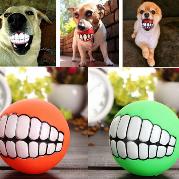 Treat Ball Pet Dog Toy Smile With Teeth Grinding Chew Sound Funny Playing nWTUS