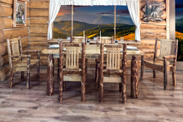 LOG Dining Room Set Kitchen Table Six Chairs Amish Made Rustic Furniture
