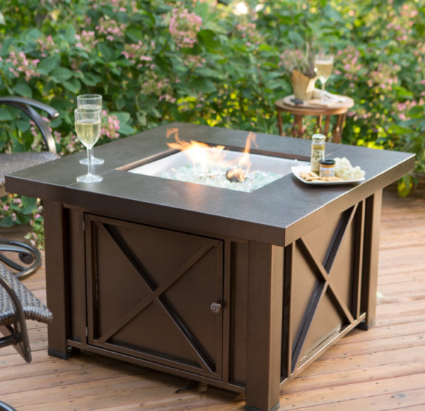 Outdoor Fire Pit Table Bronze Square Patio Backyard Heater Deck Gas Fire Glass