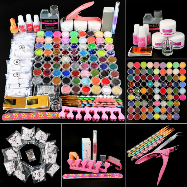 78 Acrylic Powder&Liquid Glitters Set Nail Art Set UV Gel Brushes Tools Kit US