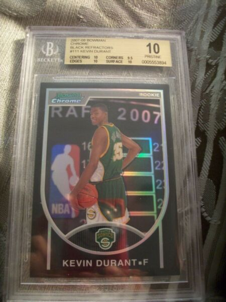POP 1 MASTERPIECE BGS 10 BOWMAN CHROME BLACK REFRACTOR KEVIN DURANT 2007 NOT PSA