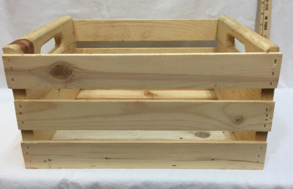Wooden Crate Box Slat Tote Cut Out Handles Wood Unfinished Pine Storage Basket