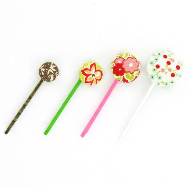 DIY MEDIUM Size 24 5 8quot; 15 mm Fabric Covered Button Bobby Pins KIT $10.50