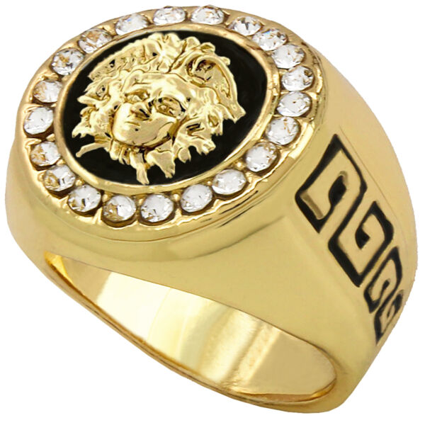 Mens Hip Hop 14k Gold Plated Iced Medusa Face HEAD Cz Round Style Pinky Big Ring