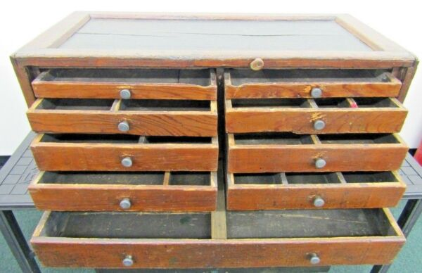 Vintage Atwater Kent Radio Repairman's Wooden Tool Chest Box Antique 9 Drawers