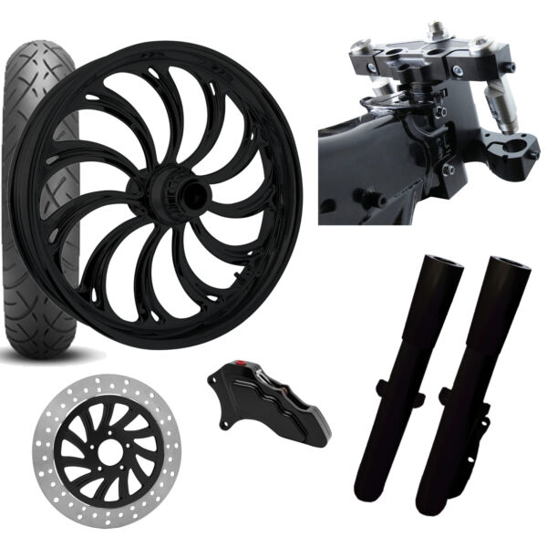 RC 26 Calypso Black Wheel Tire Neck Rake Front End Package Harley Single Side