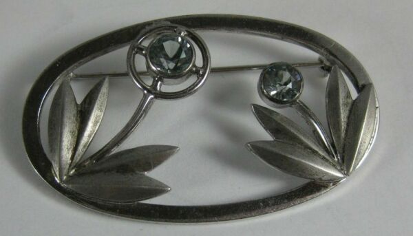 1930's Harry S. Bick Sterling Silver Modernist Flower Blue Topaz Pin Brooch
