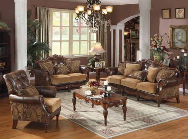 Traditional Style 3pc Formal Living Room Furniture Sofa Set Carved Wood Frames $4299.00
