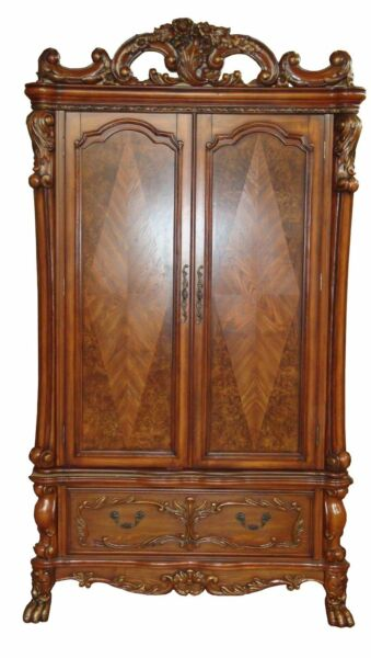 Dresden Antique Style TV Armoire in Traditional Cherry Oak Finish, Brown, Red