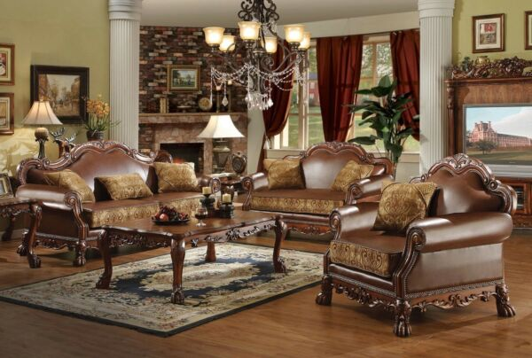 Dresden Brown Faux Leather&Gold Fabric Living Room Sofa&Love Seat Set Cherry Oak