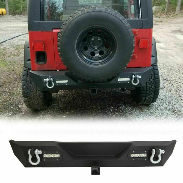 For Jeep Wrangler TJ YJ Textured Rear Bumper w2 LED lights Hitch Receiver 87-06