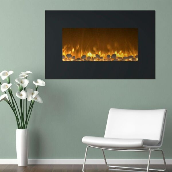 Electric Fireplace 36 in. Color Changing Wall Mount Floor Stand in Black Finish