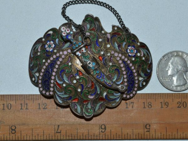 ANTIQUE 19th Faberge design ! Imperial Russian Silver 84 Cloisonne Enamel Buckle