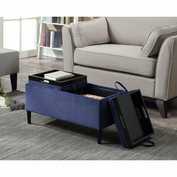 Storage Ottoman Coffee Table Blue Upholstery Reversible Tray Top Living Room