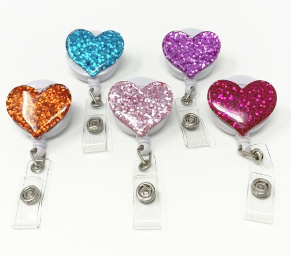 Multi color Bling Heart Retractable ID Badge Reel Holder with Swivel Clip $12.99