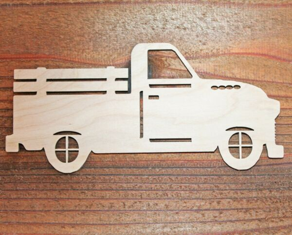 Vintage Pickup Truck Unfinished Wood Laser Cutout Cut Out Shapes Crafts DIY Sign