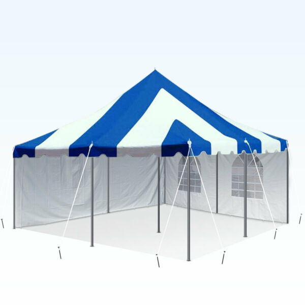 20x20' Blue White Premium Pole Tent With Sidewall Kit Waterproof Wedding Party