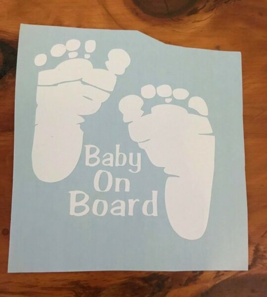 Baby on board safety vinyl decal sticker footprints car window bumper colors!