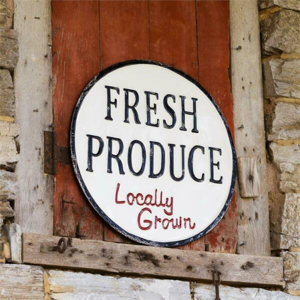 New Rustic Primitive Farmhouse Retro Vintage FRESH LOCAL PRODUCE Metal Sign 18