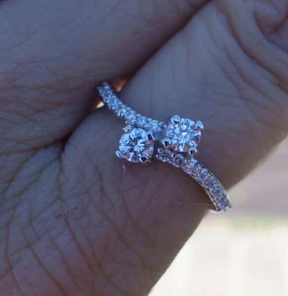 .56ct Clean Twin diamond bypass Right-hand promise ring 14k WG