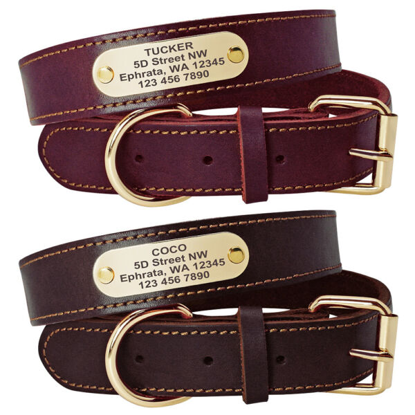 Real Leather Personalized Dog Collars Name ID Collar with Nameplate Engraved S L $12.99