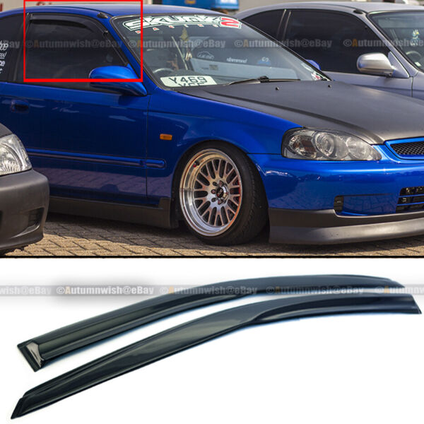 For 96 00 Honda Civic 2DR Coupe Mugen Style 3D Wavy Black Tinted Window Visor