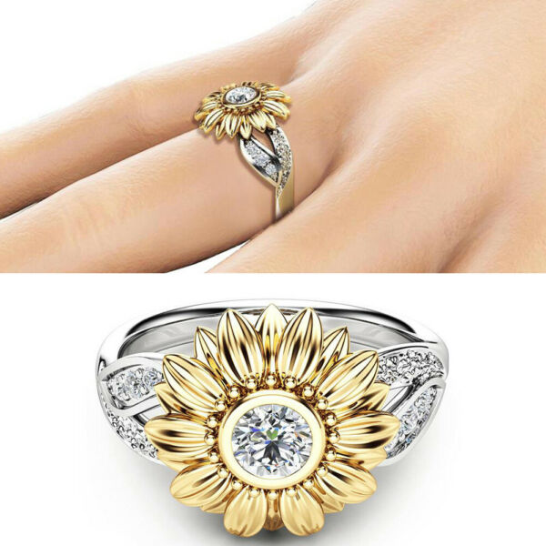 1PCS Women Plated Silver Floral Ring Round Diamond Flower Gold Sunflower Jewelry